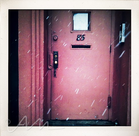 a snowy doorway